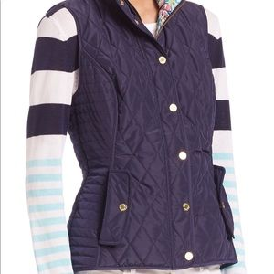 Lilly Pulitzer Blake Quilted Vest Navy Blue Size:S